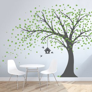 Contemporary wall stickers for kids large windy tree with birdhouse wall decal jnzbaxt