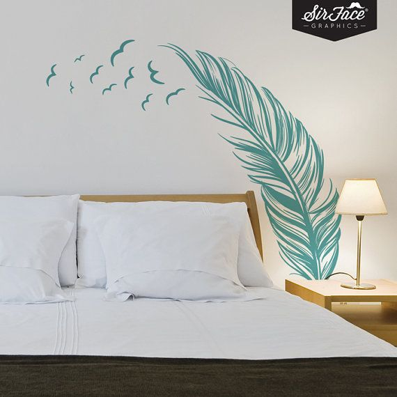 Cool wall stickers for bedrooms feather and birds wall decal bedroom wall by sirfacegraphics, £36.00 ieedkgt