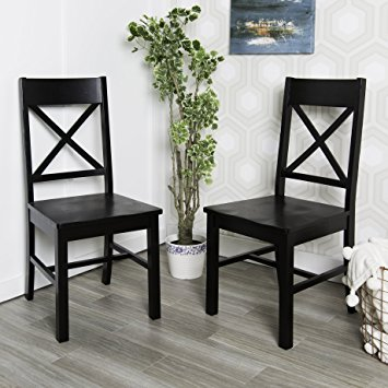 Cool we furniture solid wood black dining chairs, set of 2 waqozzv