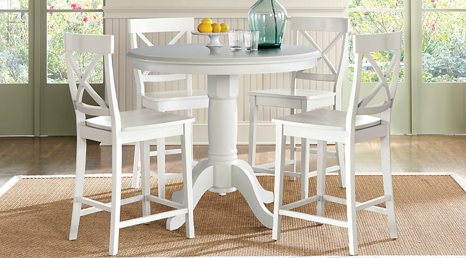 Cozy counter height dining sets brynwood white 5 pc counter height dining set from furniture txsjapd