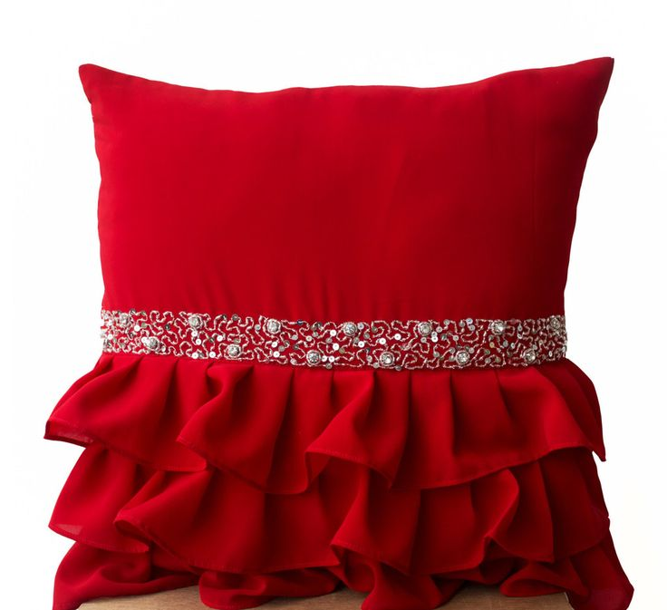 Cozy cushion covers elegant red ruffled sequin throw pillow -16x16 decorative pillow -red cushion  covers ngeavam