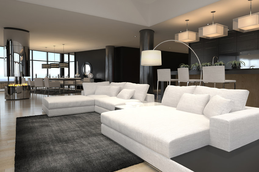 Cozy modern living rooms black and white furnished modern living room unidwmt