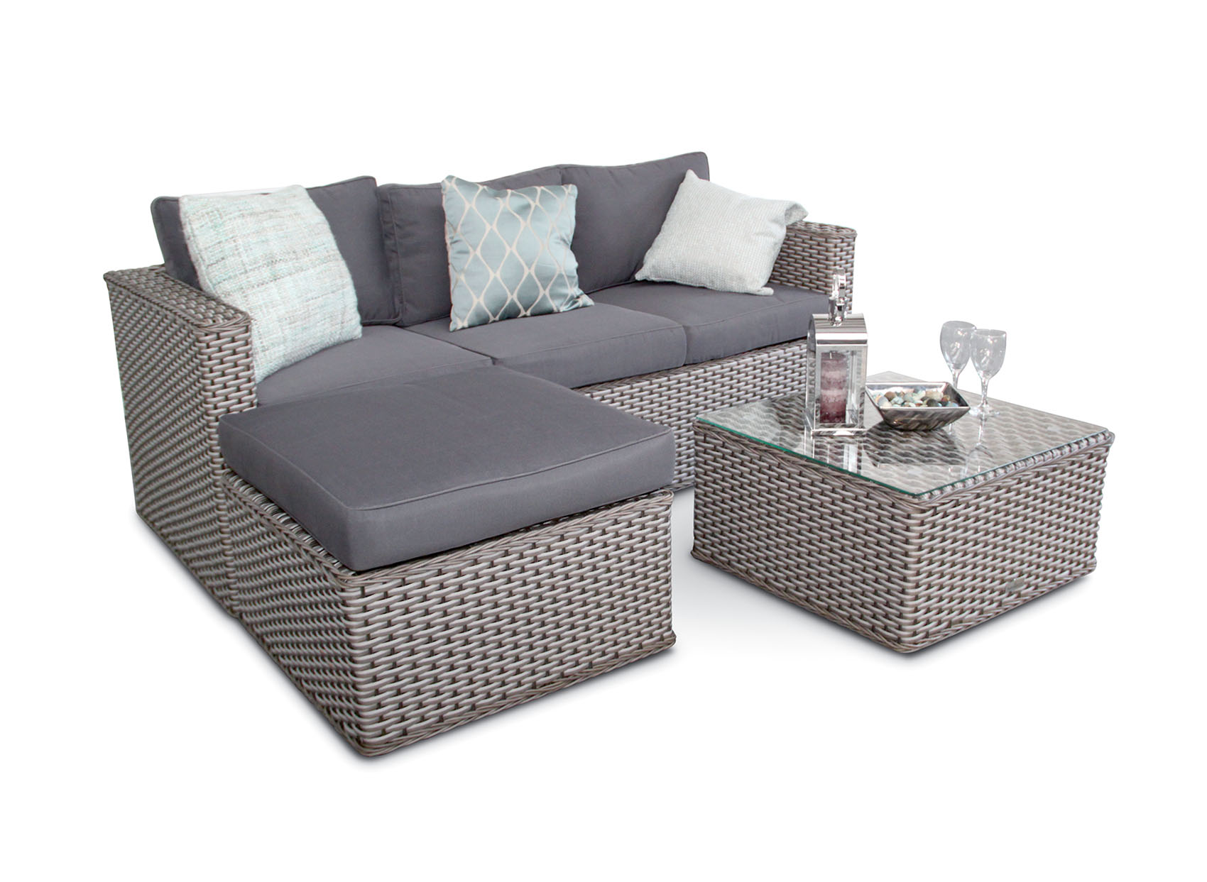Cozy rattan corner sofa bahamas rattan 3 seater outdoor sofa set - 5pc - grey whitewash ocskird