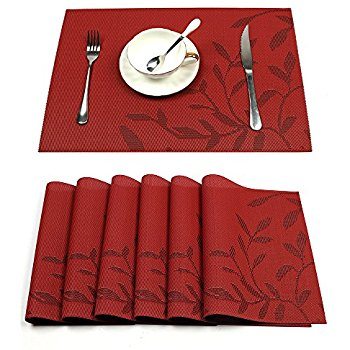 Cozy table mats hebe placemats set of 6 heat-resistant pvc placemat for dining table woven vkfsgwc