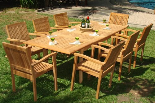 Cozy teak patio furniture 9-piece-teak-dining-set cwjdpux