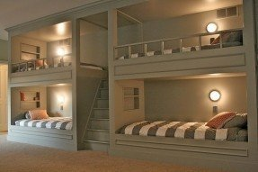Cute built in bunk beds with stairs. ideal solution for added gwynwle