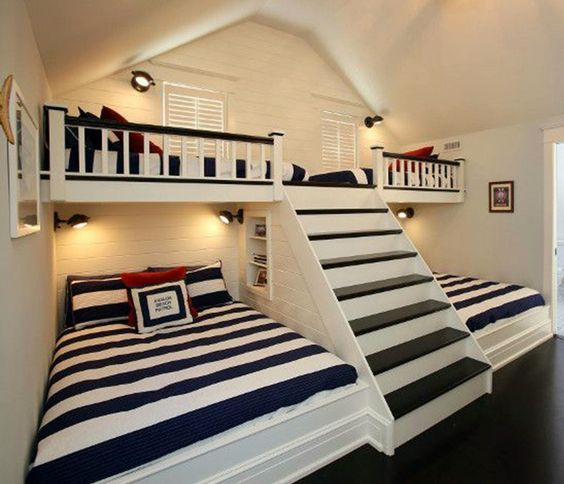 Cute bunk beds with stairs (link broken) built in bunk beds, 2 twin up top and 2 full dquumgi
