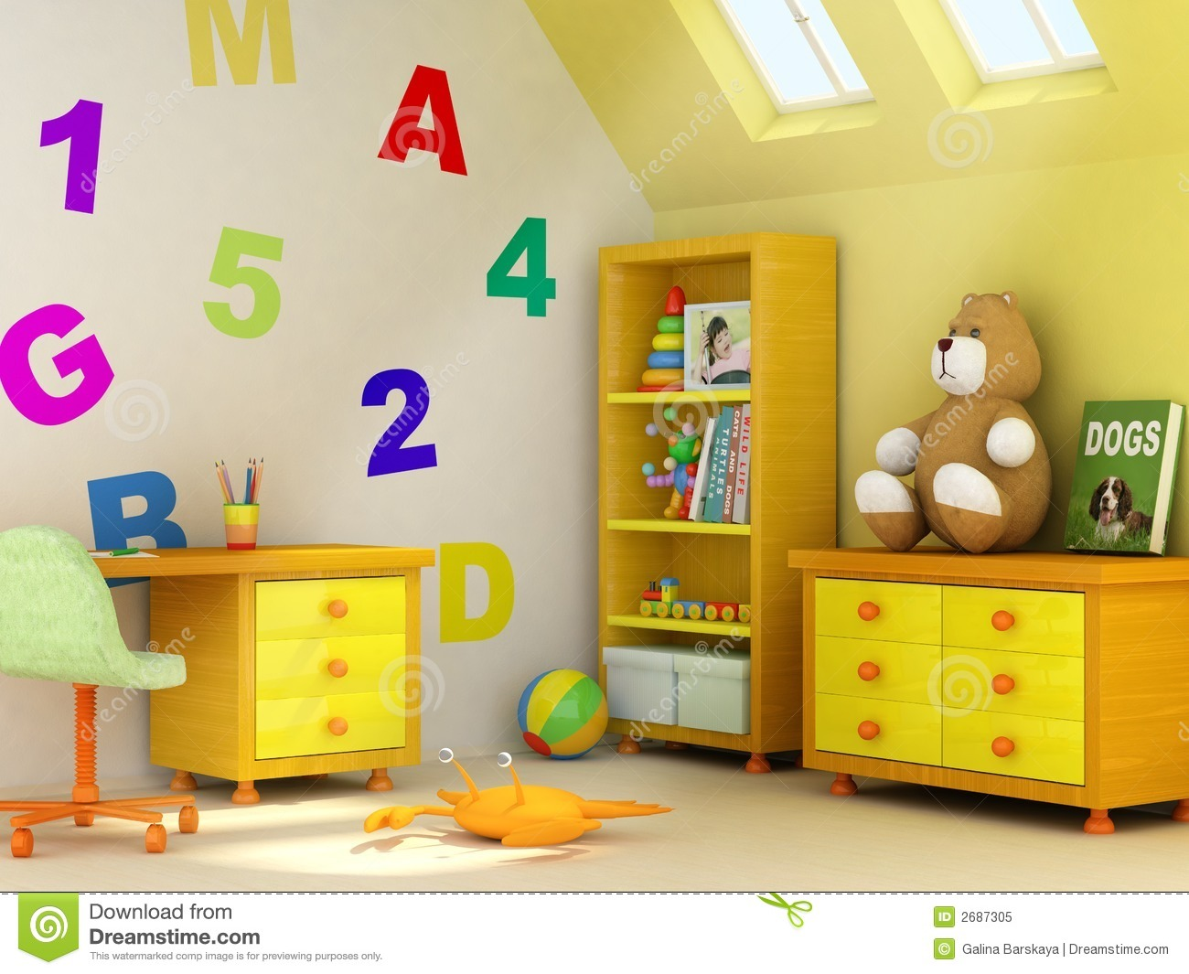 Cute children room book children design rendering room ... afjwivs
