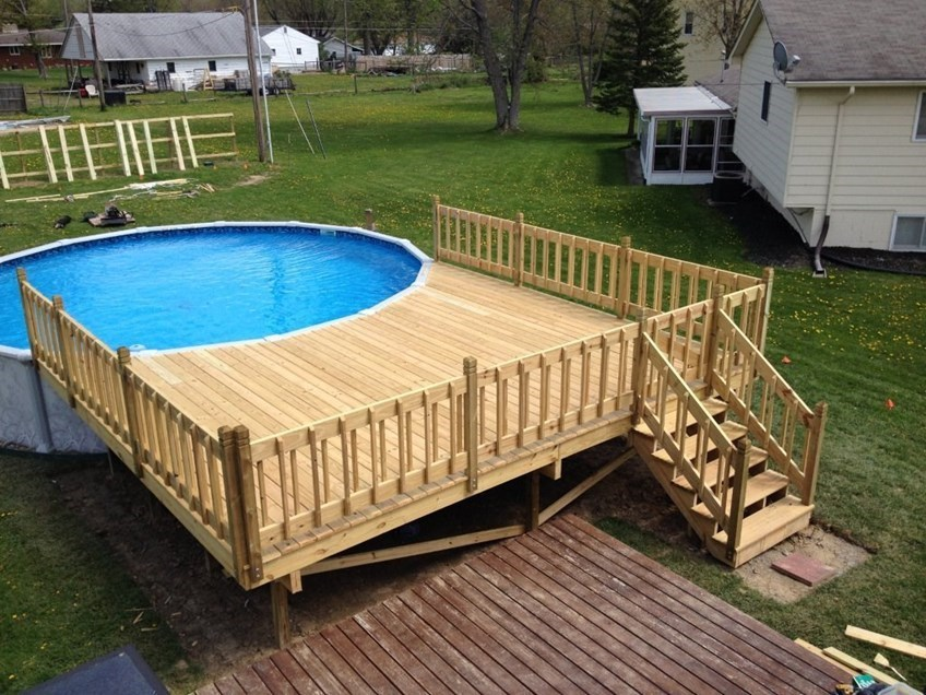 Cute circular pool deck. most above ground pool decks wrap around ... cpxggsp