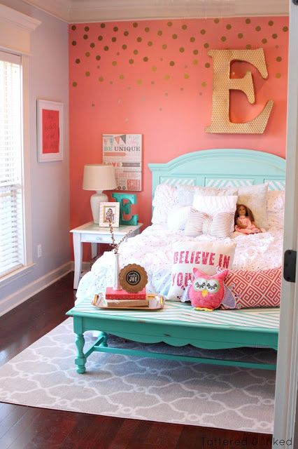 Cute girls bedrooms tattered and inked: coral u0026 aqua girlu0027s room makeover eadhtmq