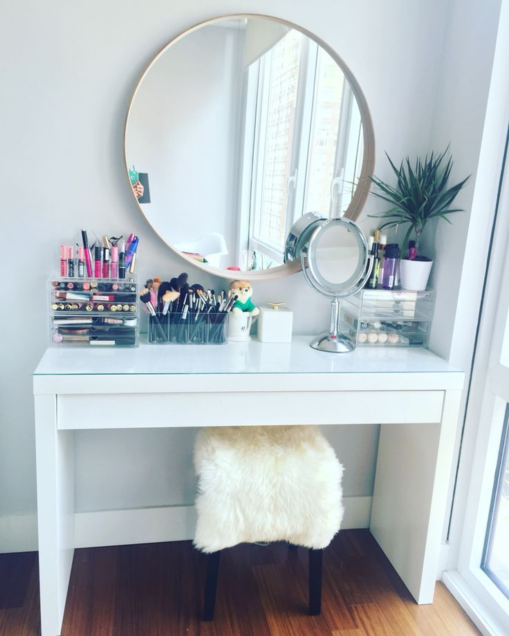 Cute makeup vanity table by ikea. ikea malm dressing table with ikea stool and gddeteu