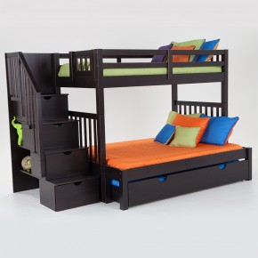 Elegant bunkbeds keystone stairway twin/full bunk bed with perfection innerspring mattresses  and storage/trundle unit nzfcpzd