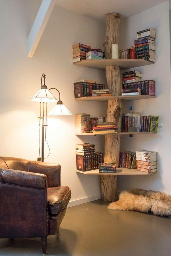 Elegant corner shelf tree bookshelf in the corner uszvasy