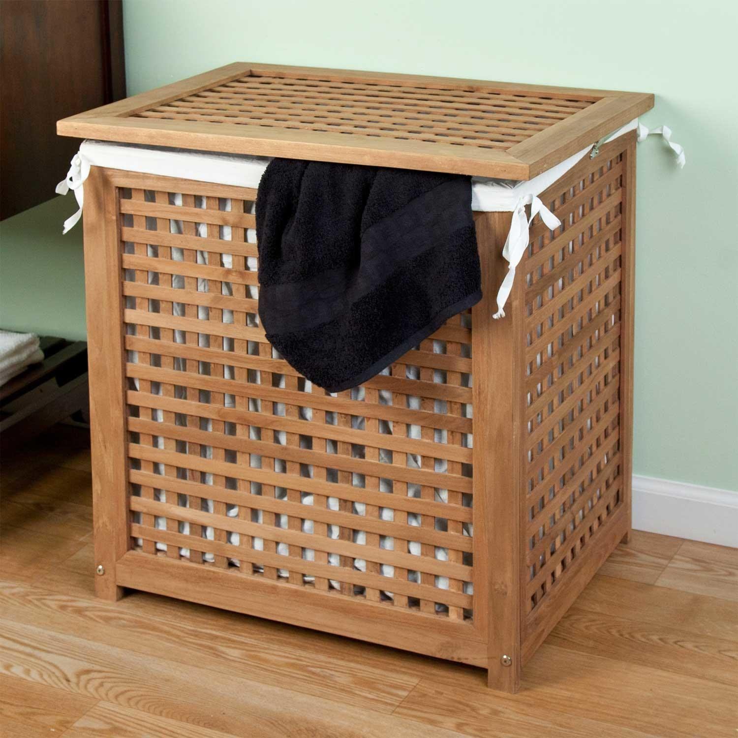 Elegant laundry hampers teak laundry hamper with lideasily conceal your laundry within this  beautiful teak aybzqtc