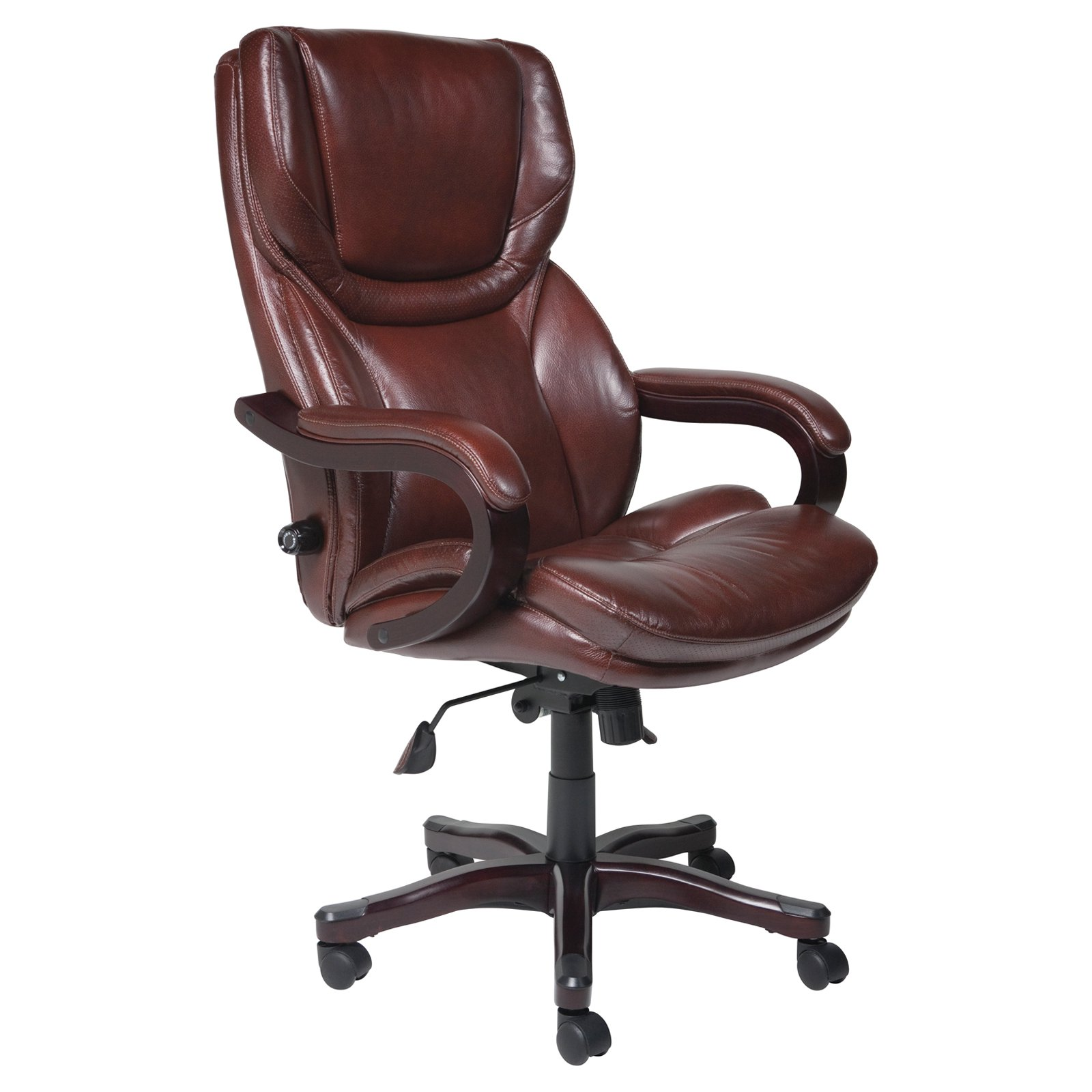 Elegant leather office chair deluxe high back office chair pu leather executive, brown - walmart.com vabebko