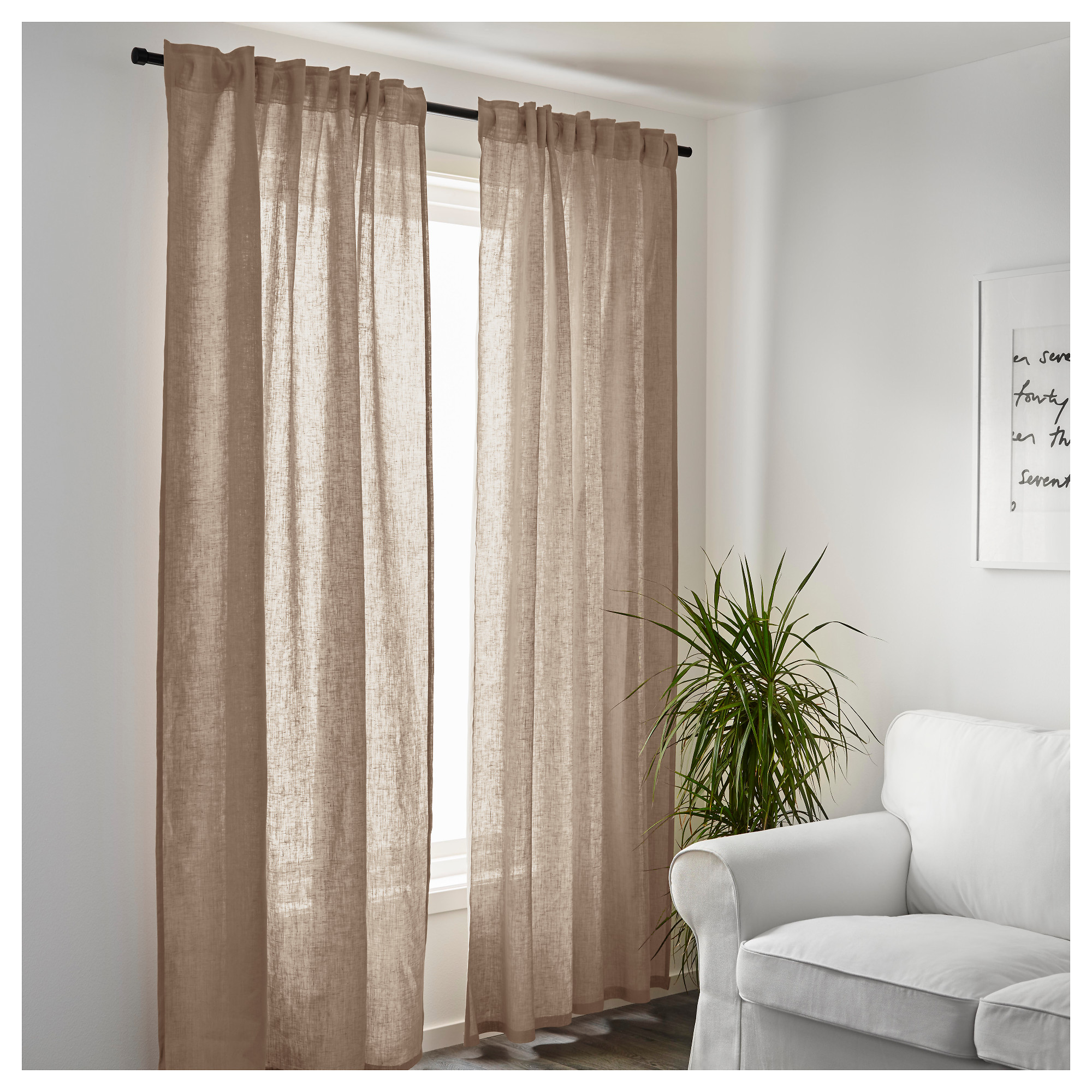 Elegant linen curtains aina curtains, 1 pair - ikea hxaxmlm