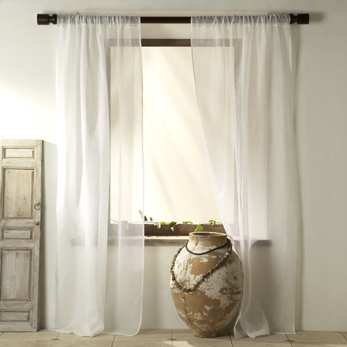 Elegant linen curtains sheer linen curtain - white | west elm htqmiga
