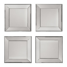 Elegant wall mirrors officestar - time square 4 pc wall mirror set with wide mirrored frames xfmqonj
