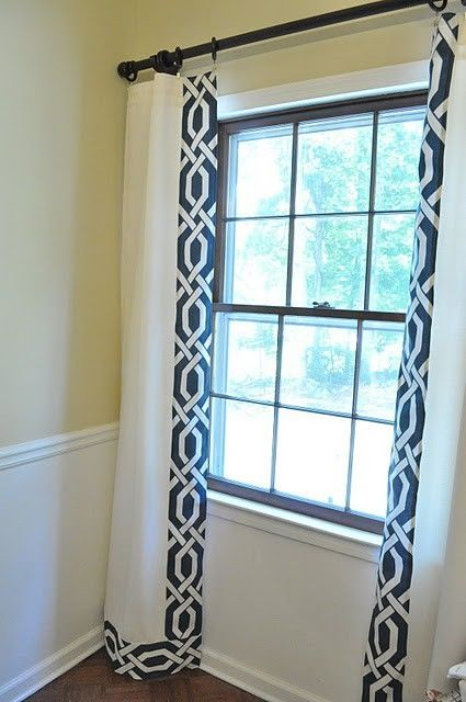 Great cream curtains navy and cream--trellis drapes great idea to trim out white drapes. - jlzgqsq