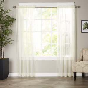 Great cream curtains wayfair basics solid sheer curtain panels (set of 2) wiwlmhb