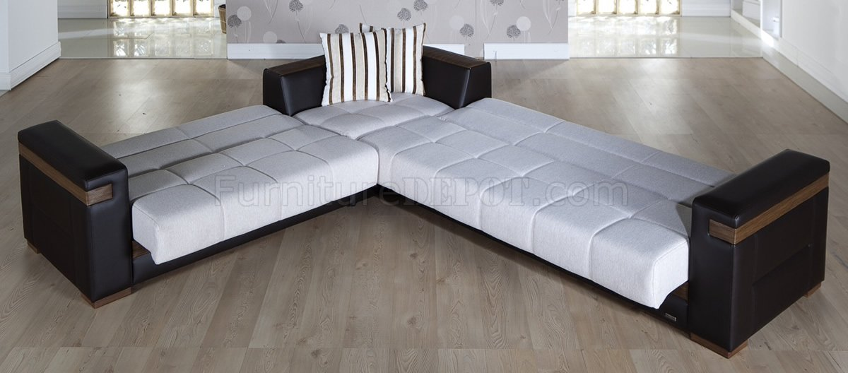 Great cream fabric u0026 dark leatherette convertible sectional sofa bed rcgwrfm