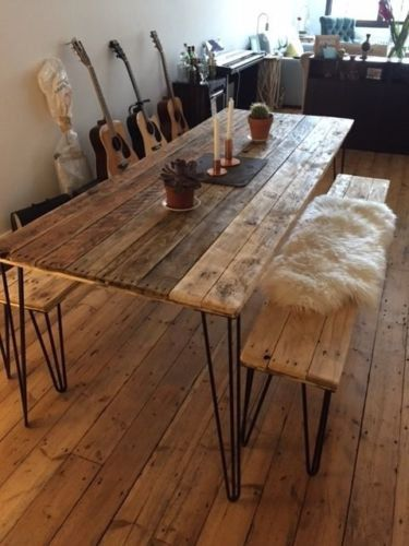 Great reclaimed wood table reclaimed wood dining table and x2 benches with by palletmonkey yzqdmzj