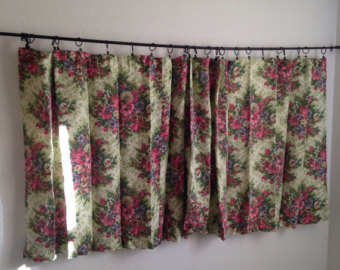 Great vintage curtains vintage floral curtains, vintage short wide curtains, vintage retro curtains,  green pink xatcvyo