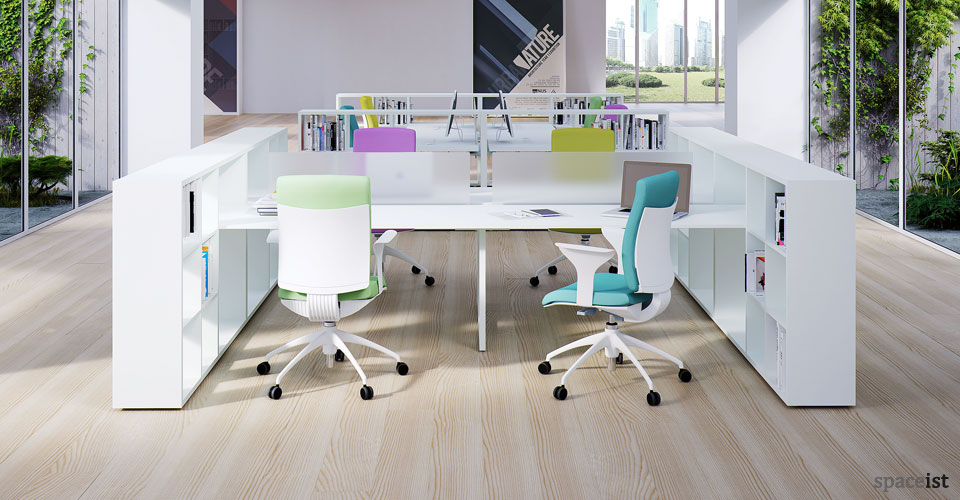 Executive look with white office desk