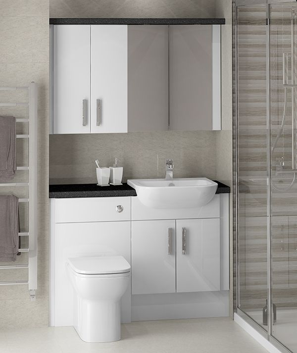 Ideas of white gloss fitted bathroom furniture - this cosmopolitan family bathroom  shows white kysuhsh