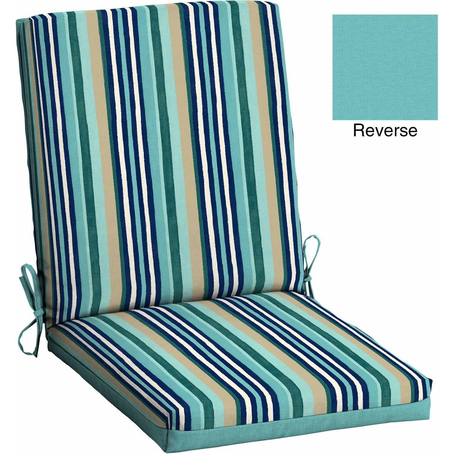Images of cushions for outdoor furniture mainstays outdoor patio reversible dining chair cushion, turquoise stripe ngnadrn