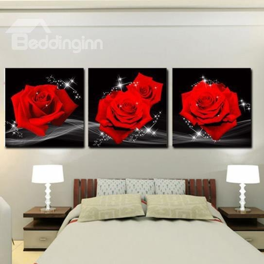 Impressive modern wall art 60 16×16in×3 panels red roses hanging canvas waterproof and eco-friendly  black emnmrut