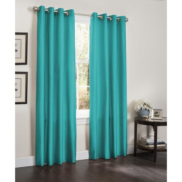 Interior turquoise curtains kashi erin faux silk insulated blackout 90-inch curtain panel pair ( turquoise), blue, otairbu