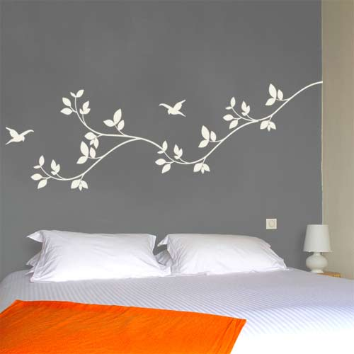 Interior wall stickers for bedrooms wall decal leaves white ... mztfhoj