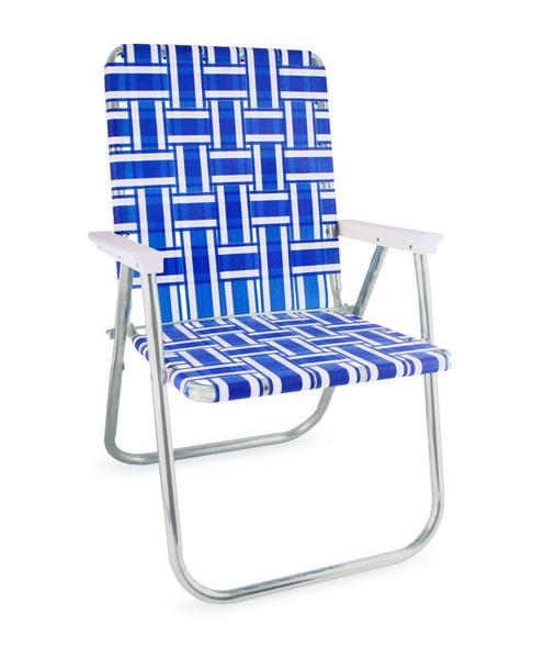 Luxury lawn chair usa - blue and white stripe aluminum webbing chair odhgfci