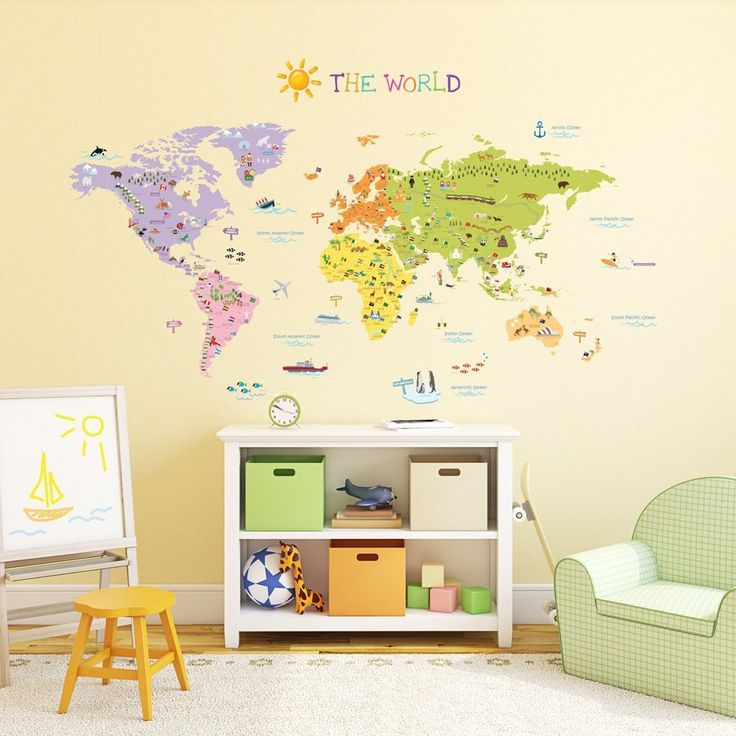 Luxury wall stickers for kids kids world map wall decals stickers great for by harvyhomewares pmjzcnx