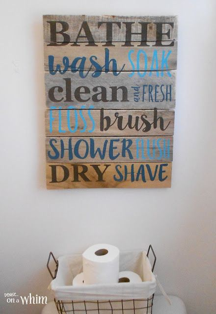 Majestic bathroom wall decor bathroom pallet sign and wire basket for toilet paper| vintage farmhouse  bathroom zzamjgt