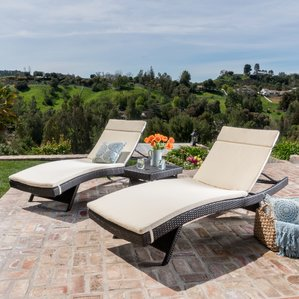Majestic chaise lounge outdoor ardoin 3 piece chaise lounge set with cushion wruweud