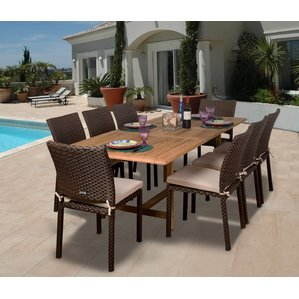 Majestic teak patio furniture elsmere 9 piece dining set with cushions qhalwgn