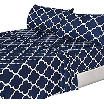 Majestic this item 4 piece bed sheets set (queen, blue) flat sheet + fitted jczyfob