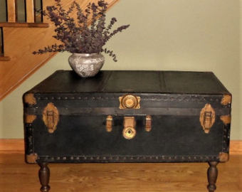 Majestic vintage steamer trunk coffee table / black steamer trunk / vintage coffee zcsfrxy