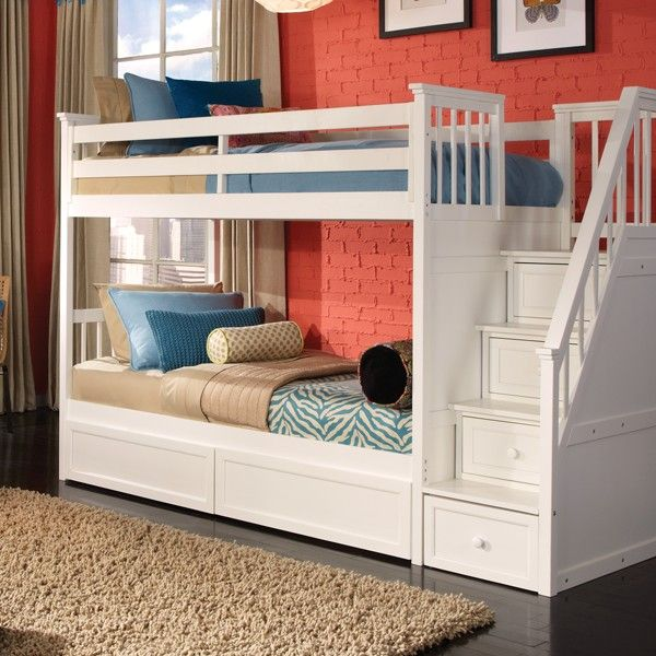 Master bunk beds with stairs schoolhouse collection twin/twin stair bunk bed in white : comfortla.com,  interior quaykao