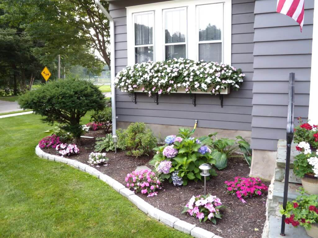 Modern front garden ideas 1. cheerful floral border and window boxes mrgyrhl