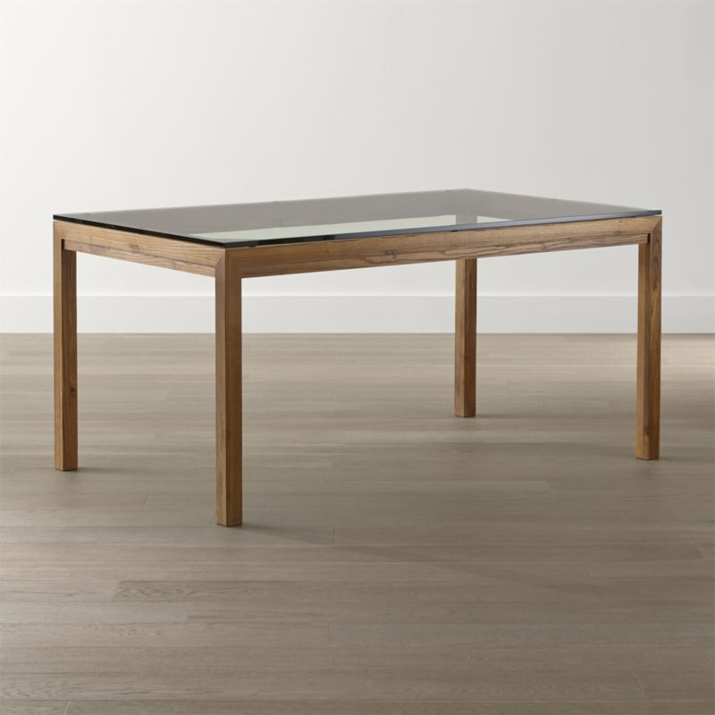 Modern glass top dining table parsons clear glass top/ elm base dining tables   crate and barrel tiwkohj