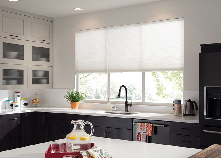 Modern kitchen window treatments budget blinds white cellular shades awthzew