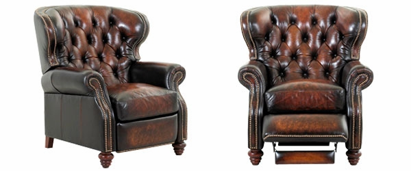 Modern leather recliner chair arthur tufted chesterfield style leather recliner yhhseir