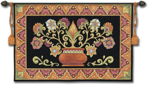 Modern tapestry wall hangings mexican potted floral folk art tapestry wall hanging 53 eicwdmg
