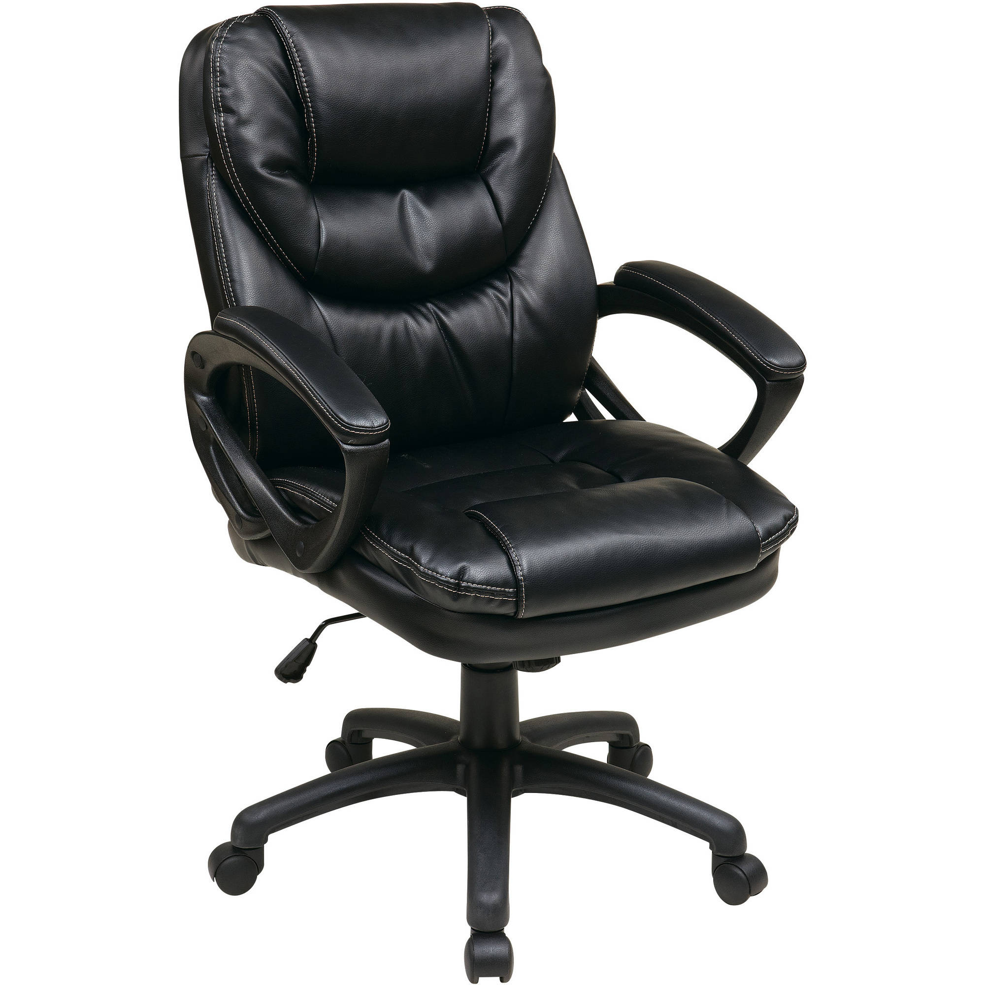 Modular leather office chair office star faux-leather manageru0027s office chair with padded arms hwdozwx