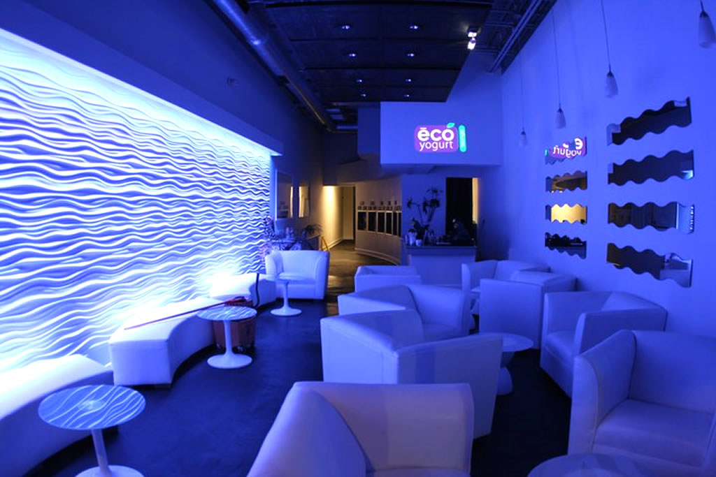 Modular lounge design store interior design in blue led color of eco yogurt lounge, boca raton mhtasfu