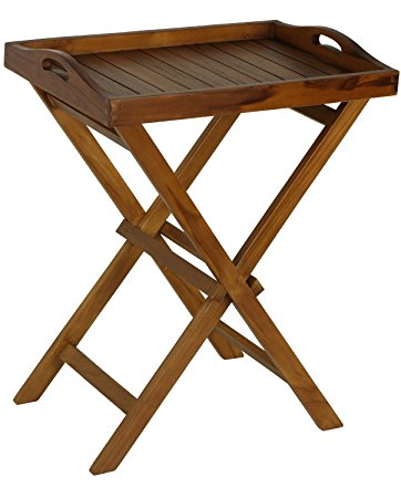 New bare decor kalos outdoor solid teak wood tray table, 30-inch, brown hzwqrbn