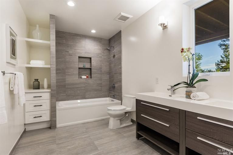New bathrooms ideas 4 tags contemporary full bathroom with limestone counters, built-in  bookshelf, grey porcelain ckhpjxd